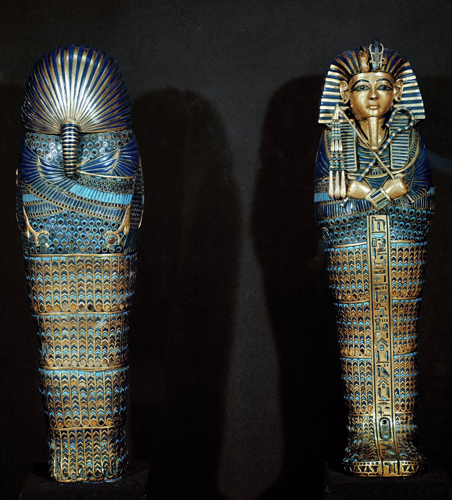 Stock Photo: 1899-42015 Egyptian Antiquities: Sarcophagus which contained the viscera of the defunct, Detail. Part of Tutankhamun's Treasures. Gold, 18th Dynasty, c.1340 BC. From the Tomb of Tutankhamun, Valley of the Kings, Thebes. Egyptian Art. Egyptian Museum, Cairo, Egypt .