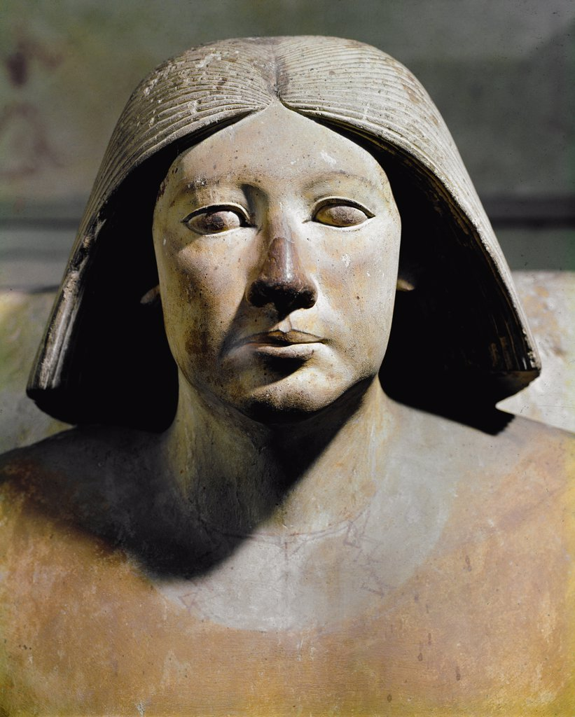 Stock Photo: 1899-42034 Egyptian Antiquities: High Priest Ranefer, Supervisor of the Royal Workshops and High Priest of Ptah. Limestone From Saqqara, 5th Dynasty, 2500-2465 BC. Egyptian Museum, Cairo, Egypt.