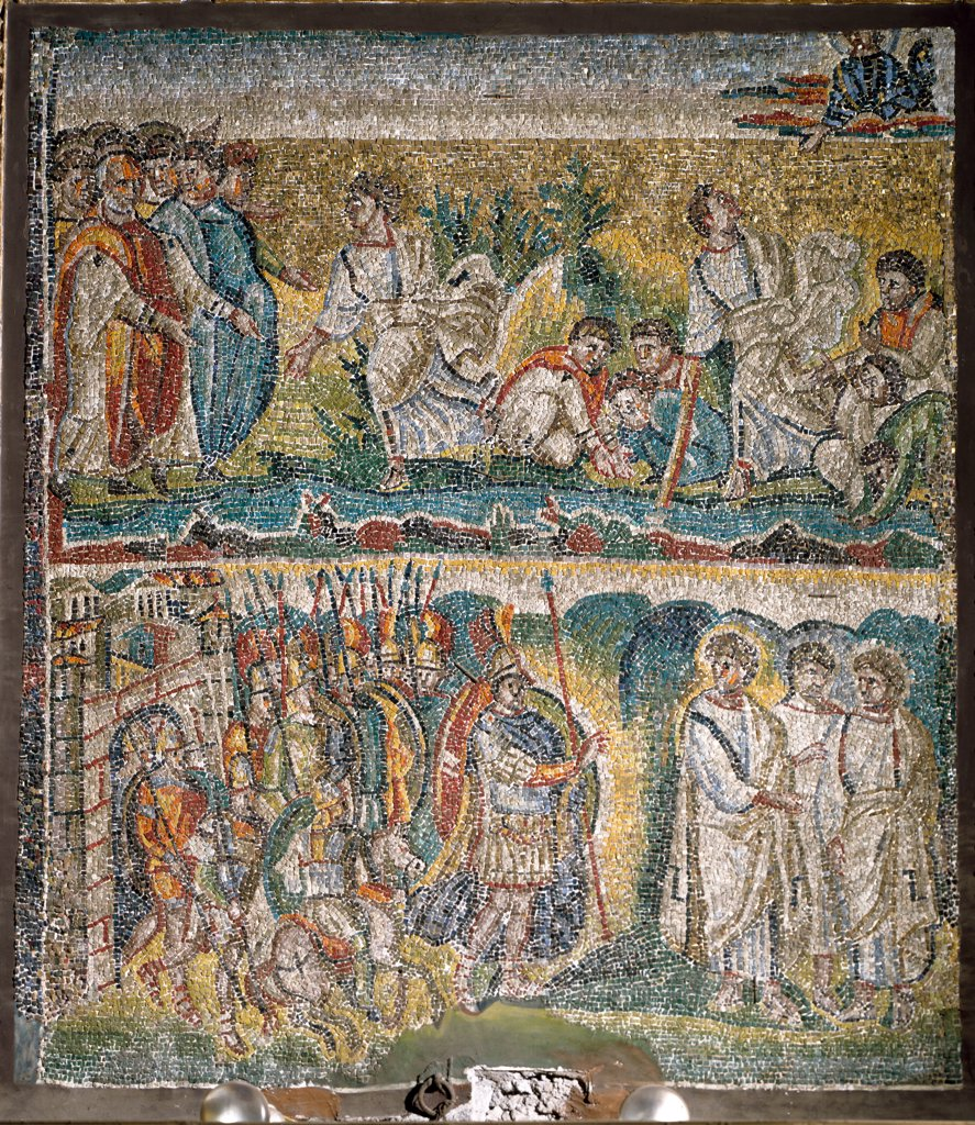 Stock Photo: 1899-42133 Christian Art: Moses sweetens the Water of Marah and The Ruler of the Amalekites Blocks the Passage of the People of Israel. Nave mosaic, 5th century. Basilica Santa Maria Maggiore, Rome, Italy.