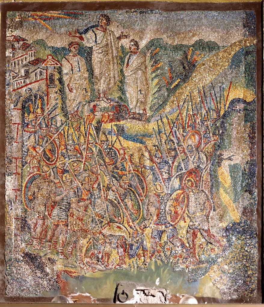 Christian Art: Battle with the Amalekites. Nave mosaic, 5th century. Basilica Santa Maria Maggiore, Rome, Italy.  : Stock Photo