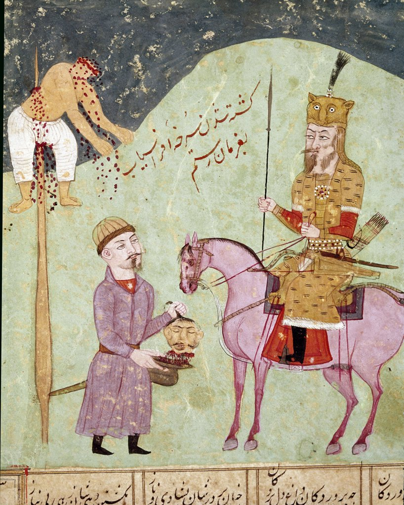 Islamic Art: Beheaded and Impaled Enemy. Illustration from the Shahnama (Book of Kings), by Abu'l-Qasim Manur Firdawsi (c.934-c.1020). Persian Miniature.  Biblioteca Nazionale, Naples, Italy .  : Stock Photo