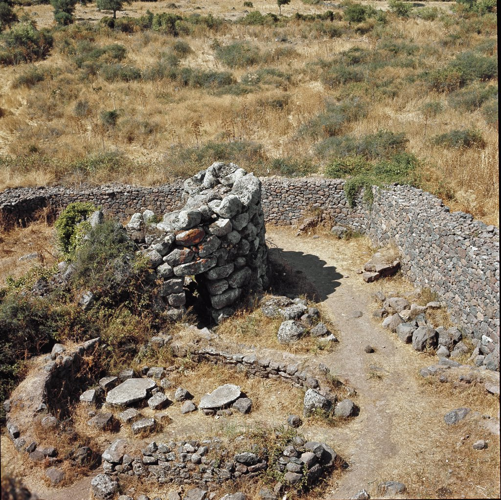 Nuraghe Losa, Abbasanta, Italy. Remains of a Defensive Tower. Nuraghic culture, Sardinia. 15th century BC. Abbasanta, Sardinia, Italy.  : Stock Photo