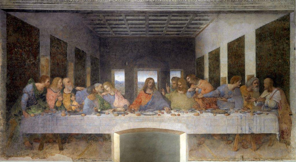 Stock Photo: 1899-42356 The Last supper, by Leonardo da Vinci (1452-1519). Mural painting, 880x460 cm, 1495-97. Santa Maria delle Grazie, Refectory, Milan, Italy.
