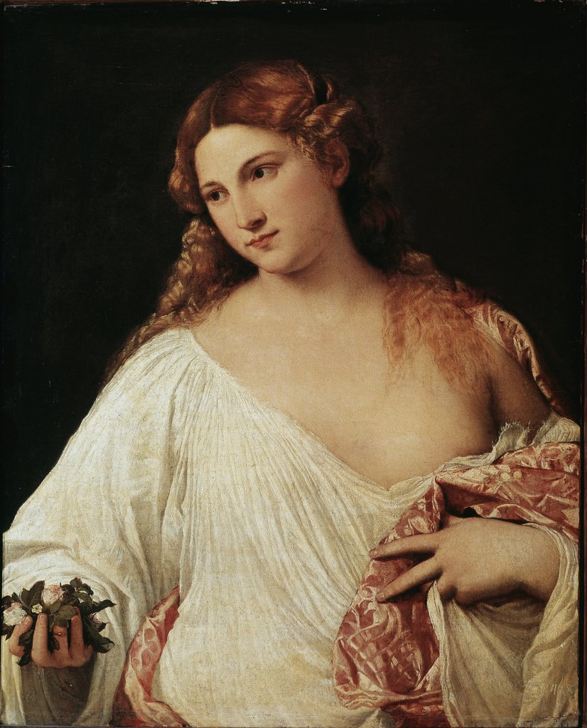 Flora, by Tiziano Vecellio a.k.a Titian (c.1490-1576). Oil on canvas, 64x80 cm, c.1515.  Galleria degli Uffizi, Florence, Italy.  : Stock Photo