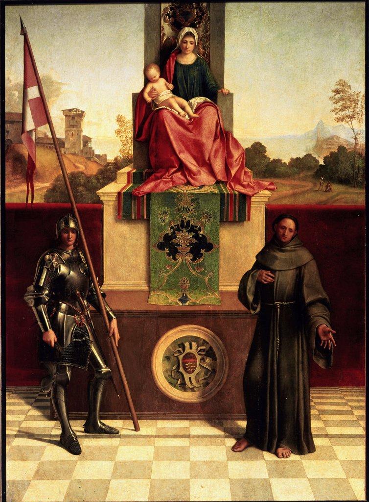 Stock Photo: 1899-42360 Madonna Enthroned Between the Saints Francis and Liberale (Castelfranco Altarpiece),by Giorgio da Castelfranco a.k.a Giorgione (1477-1510). Oil on wood, 200x152 cm, c.1504. Chiesa di San Liberale, Castelfranco Veneto, Italy.