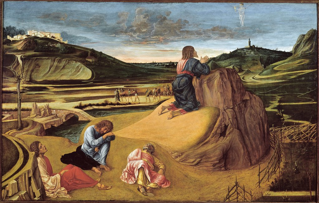 Stock Photo: 1899-42366 The Agony in the Garden, by Giovanni Bellini a.k.a. Giambellino (c.1432 -1516). Tempera on wood, 81x127 cm, c.1465. National Gallery, London, UK.