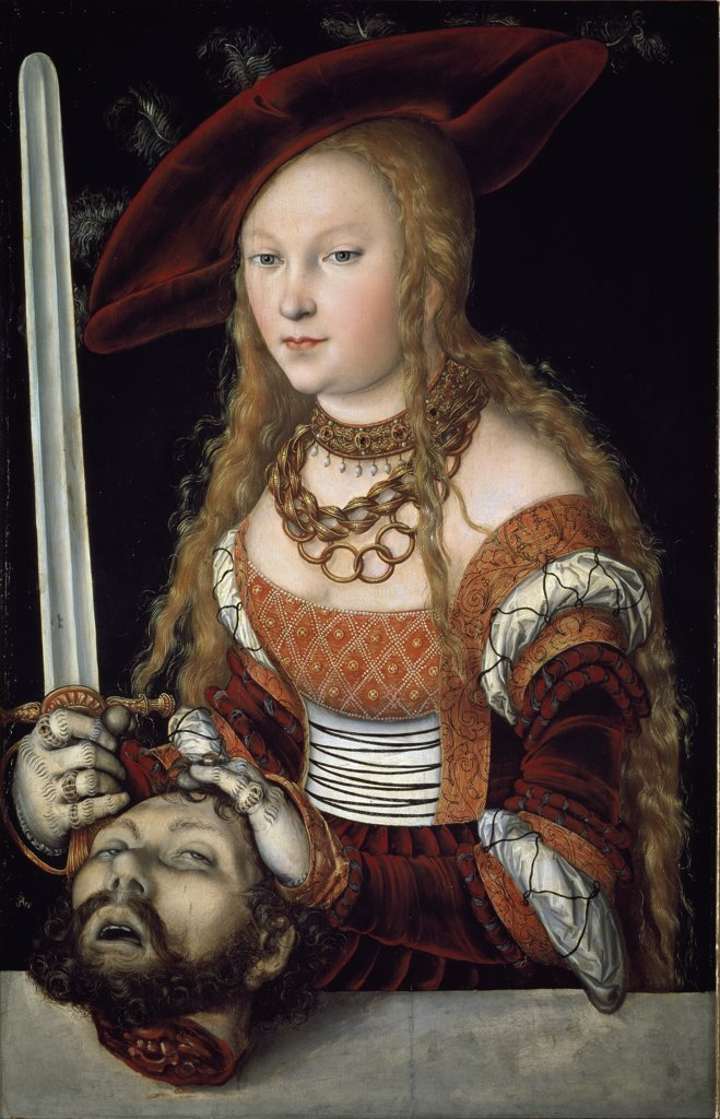 Judith with the head of Holofernes, by Lucas Cranach the Elder (1472-1553). Oil on wood, 87 x56 cm, c.1530. Kunsthistorisches Museum, Vienna, Austria.  : Stock Photo
