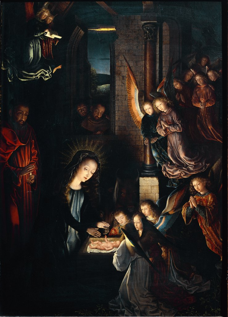 The Nativity or Holy Night, by Gerard David (c.1460 _1523). Oil on oakwood, 57 x41 cm, c.1495. Kunsthistorisches Museum, Vienna, Austria.  : Stock Photo