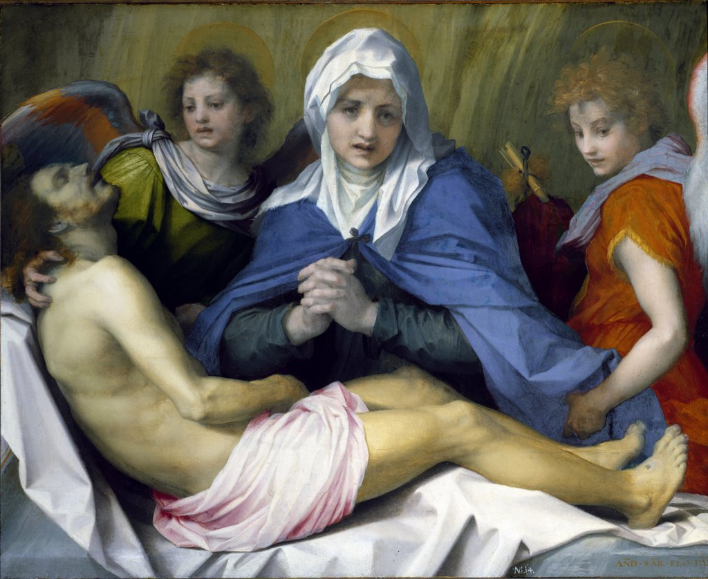 Stock Photo: 1899-42395 The Lamentation of Christ, by Andrea d'Agnolo di Francesco di Luca a.k.a Andrea del Sarto (1486-1530). Oil on wood, 99x120 cm, c.1519-20. Kunsthistorisches Museum, Vienna, Austria.
