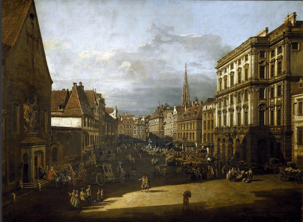 The Flour Market in Vienna, by Bernardo Bellotto a.k.a Canaletto (1720-1780). Oil on canvas, 116x155 cm, 1760. Kunsthistorisches Museum, Vienna, Austria.  : Stock Photo