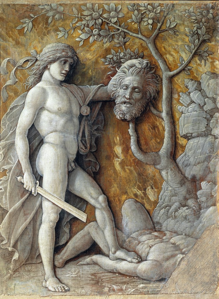 David with the Head of Goliath, by Andrea Mantegna (1431-1506). Oil on canvas, 36 x 48,5 cm, 1490-95. Kunsthistorisches Museum, Vienna, Austria.  : Stock Photo