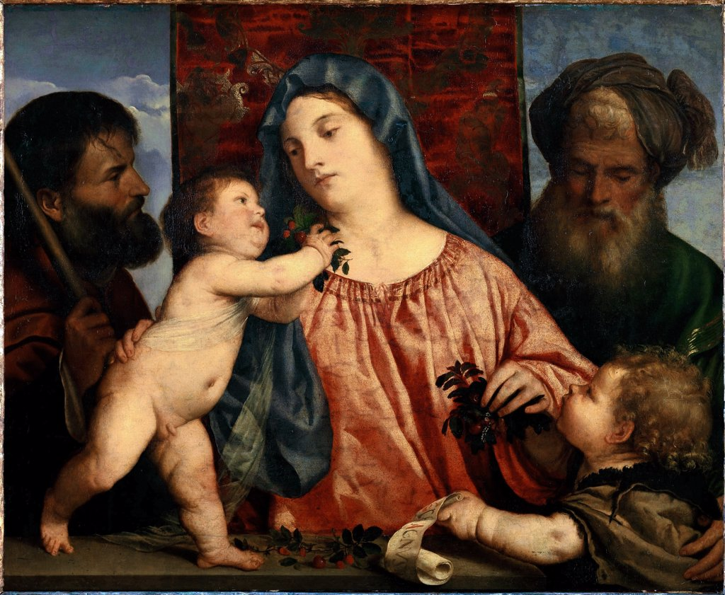 Madonna of the Cherries, by Tiziano Vecellio a.k.a Titian (c.1490-1576).Left: Saint Joseph. Right: Child John Baptist and Saint Zachary. Oil on wood, transferred to canvas, 81x99,5 cm, 1515-20. Kunsthistorisches Museum, Vienna, Austria.  : Stock Photo