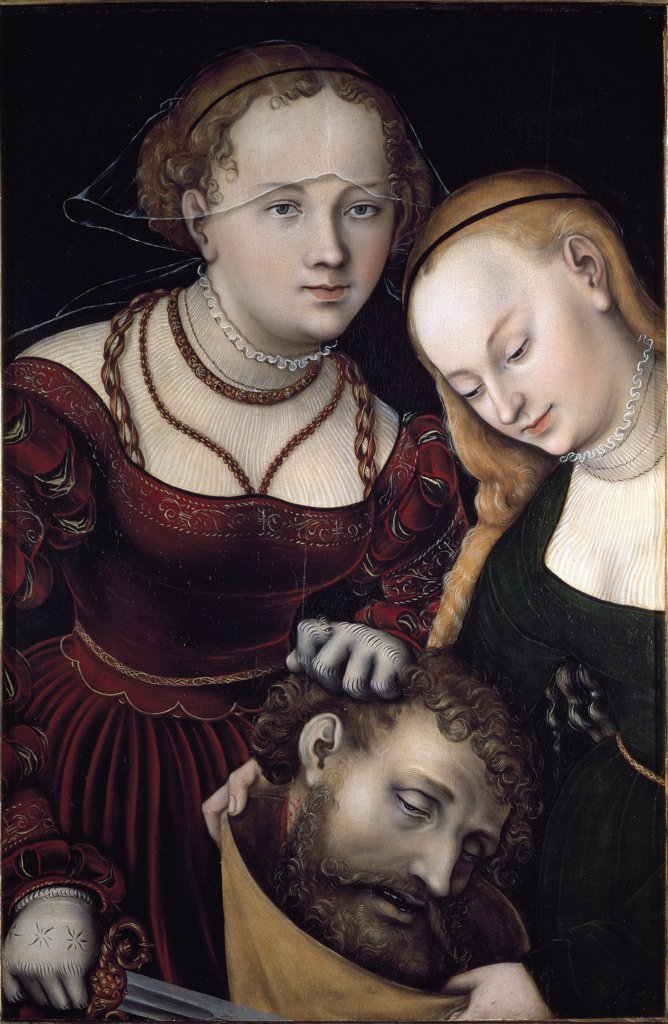 Stock Photo: 1899-42404 Judith with the Head of Holofernes and a Servant, by Lucas Cranach the Elder (1472-1553). Oil on wood, 77x52,5 cm, c.1530. Kunsthistorisches Museum, Vienna, Austria.