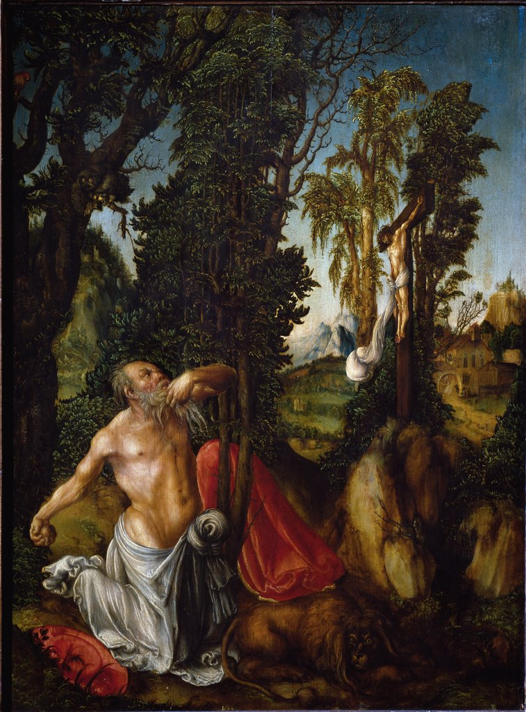 Saint Jerome in Penance, by Lucas Cranach the Elder (1472-1553). Oil on limewood, 55,5x41,5 cm, 1502. Kunsthistorisches Museum, Vienna, Austria.  : Stock Photo