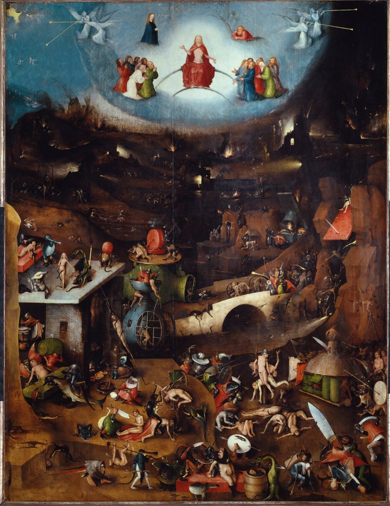 Stock Photo: 1899-42412 The Last Judgment. Central Panel of the Triptych by Hieronymus Bosch (c.1450-1516). Oil on wood, 127x163  cm, 1504. Gemaldegalerie der Akademie der Bildenden Kunsthistorisches, Vienna,  Austria.