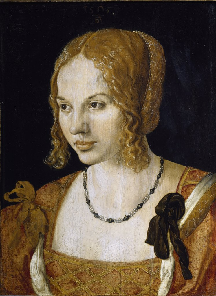 Portrait of Young Venetian, by Albrecht Durer (1471-1528). Oil on wood, 32,5x24,5 cm, 1505. Kunsthistorisches Museum, Vienna, Austria.  : Stock Photo