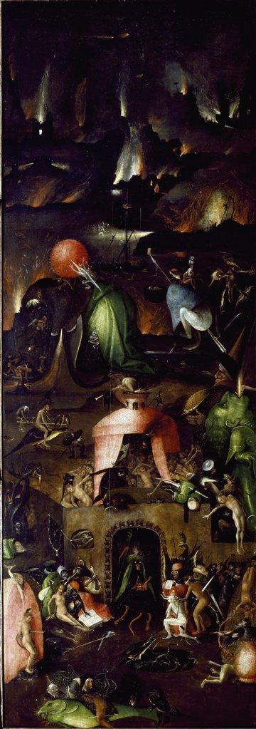 Stock Photo: 1899-42428 Hell. Right wing of the The Last Judgment Triptych, by Hieronymus Bosch (c.1450-1516). Oil on wood, 167,7x60 cm, 1504. Gemaldegalerie der Bildenden Kuenste, Vienna, Austria.