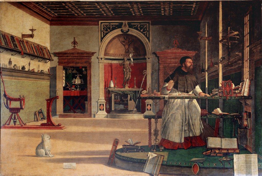 Stock Photo: 1899-42434 Vision of St Augustin, Vittore Carpaccio (c.1460-1526). Tempera on canvas, 141x210 cm, 1502-07. Scuola di San Giorgio degli Schiavoni, Venice, Italy.