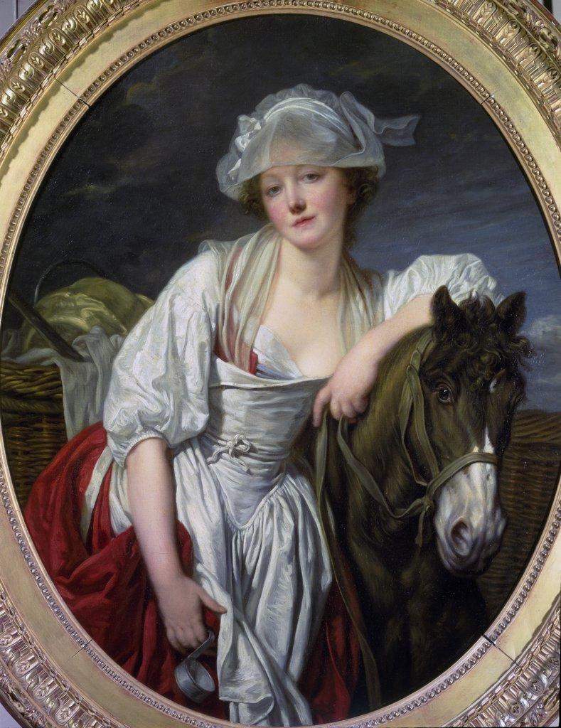 Stock Photo: 1899-42437 The Milkmaid, by Jean Baptiste Greuze (1725-1805). Oil on canvas, 106x86 cm, 1780. Musee du Louvre, Paris, France.