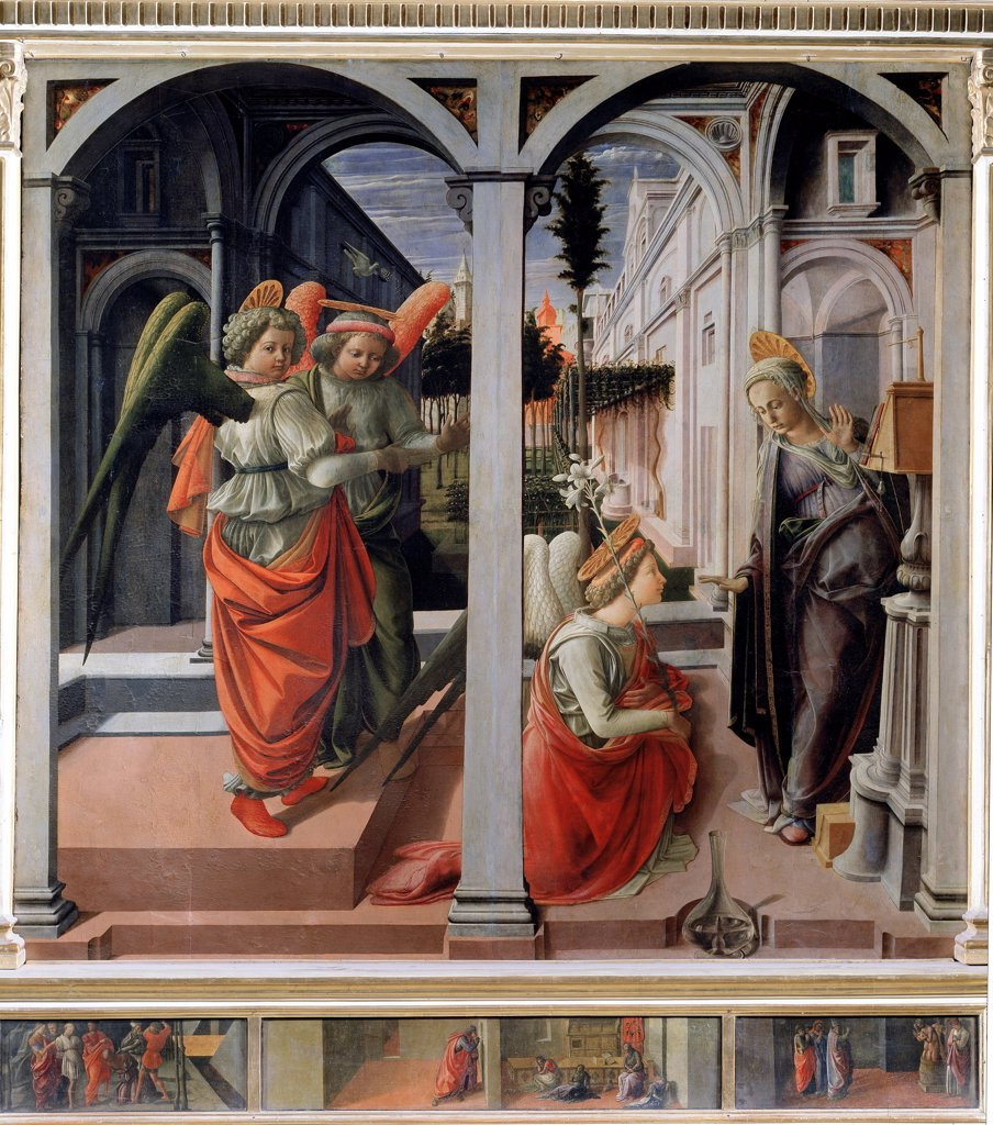 Annunciation, by Filippo Lippi (c.1406-1469). Tempera on wood, 175x183 cm, 1440. Martelli Chapel, San Lorenzo, Florence, Italy.  : Stock Photo