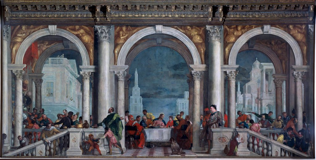 Feast in the House of Levi, Paolo Caliari a.k.a Paolo Veronese (1528-1588). Oil on canvas, 551x1310 cm, 1573.  Galleria dell' Accademia, Venice, Italy.  : Stock Photo