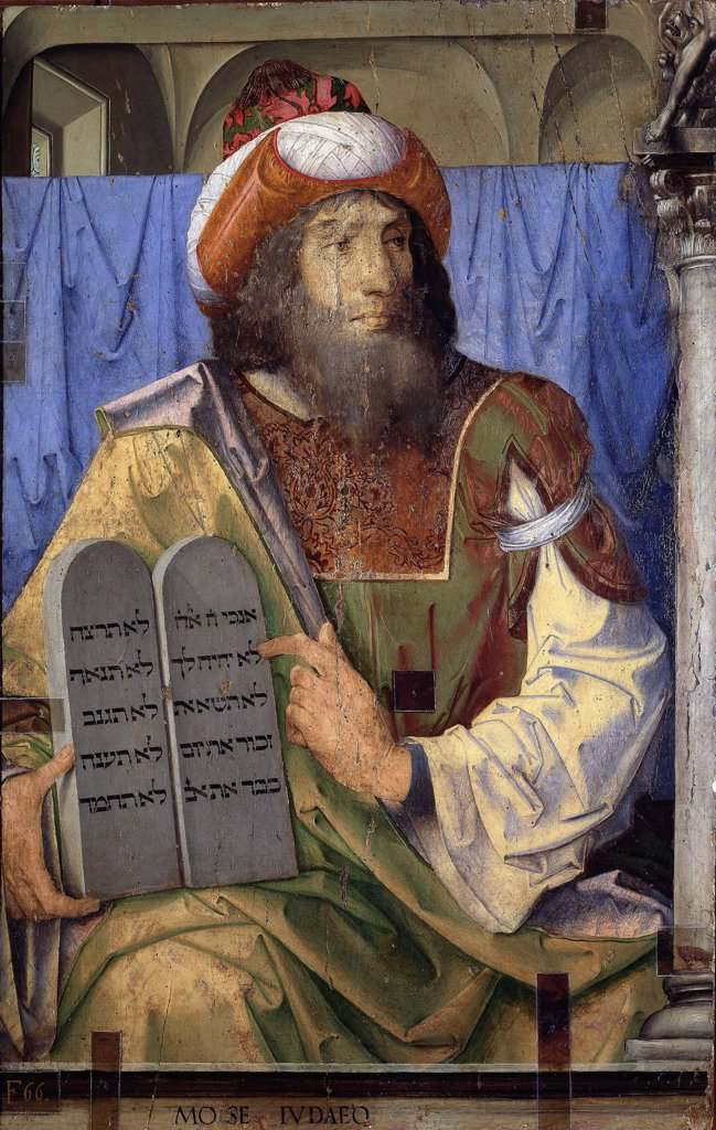 Stock Photo: 1899-42454 Moses with the Ten Commandments, by Joos van Wassenhove (1430-1475). Tempera on wood, 115x74 cm, 1471-74. Galleria Nazionale delle Marche, Urbino, Italy.