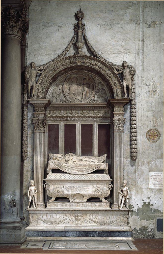 Stock Photo: 1899-42455 Tomb of Carlo Marsuppini (1399-1453), Chancellor of the Florentine Republic, by Desiderio da Settignano (c.1430-1464). Marble, c.1453. Basilica Santa Croce, Florence, Italy.