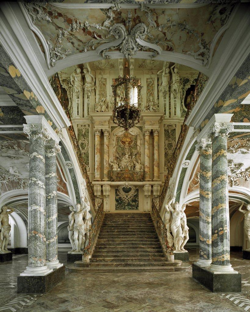 Grand Staircase in Augustusburg Castle, designed by Johann Balthasar Neumann (1687-1753). Bruhl, Germany .  : Stock Photo