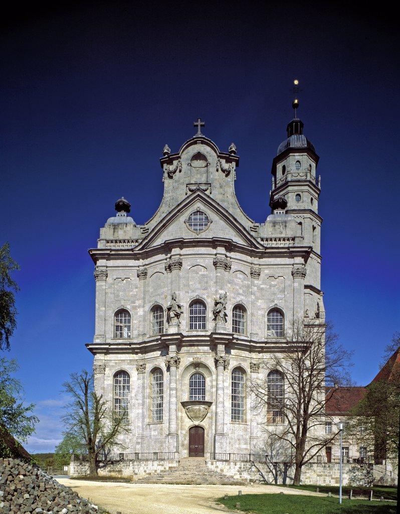 Stock Photo: 1899-42500 Front View of Neresheim Benedictine Abbey, designed by Johann Balthasar Neumann (1687-1753). 1754-98. Neresheim, Germany.