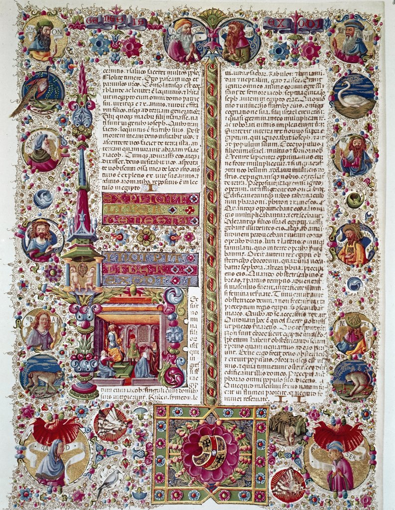 Manuscript Page from the Bible of Borso d'Este. Illumination by Taddeo Crivelli (1425-1479). 1455-61. Biblioteca Estense, Modena, Italy.  : Stock Photo