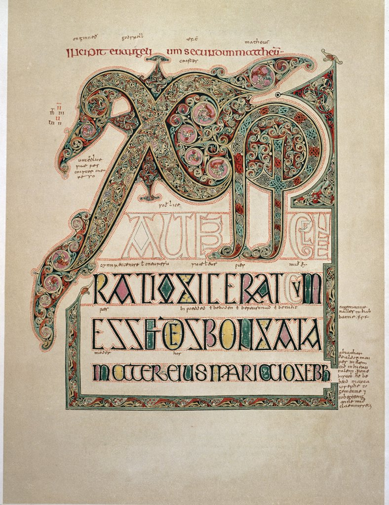 Stock Photo: 1899-42623 Lindisfarne Gospels: St Matthew's opening of the Christmas Gospel. Illuminated latin manuscript written in the Island of Lindisfarne, 710-721 AD. Facsimile published by the British Museum. Bible Society, London, UK.