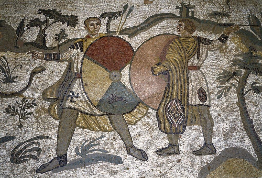 Stock Photo: 1899-42643 Roman Art: The Big Game Hunt, detail. Mosaic, 315-350 AD. Piazza Armerina, Roman Villa of Casale, Italy.