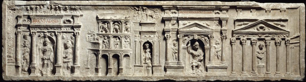 Roman Art: Bas-relief from the Tomb of the Haterii. Roman edifices. 1st century AD. Museo Pio Clementino, Musei Vaticani, Italy. .  : Stock Photo