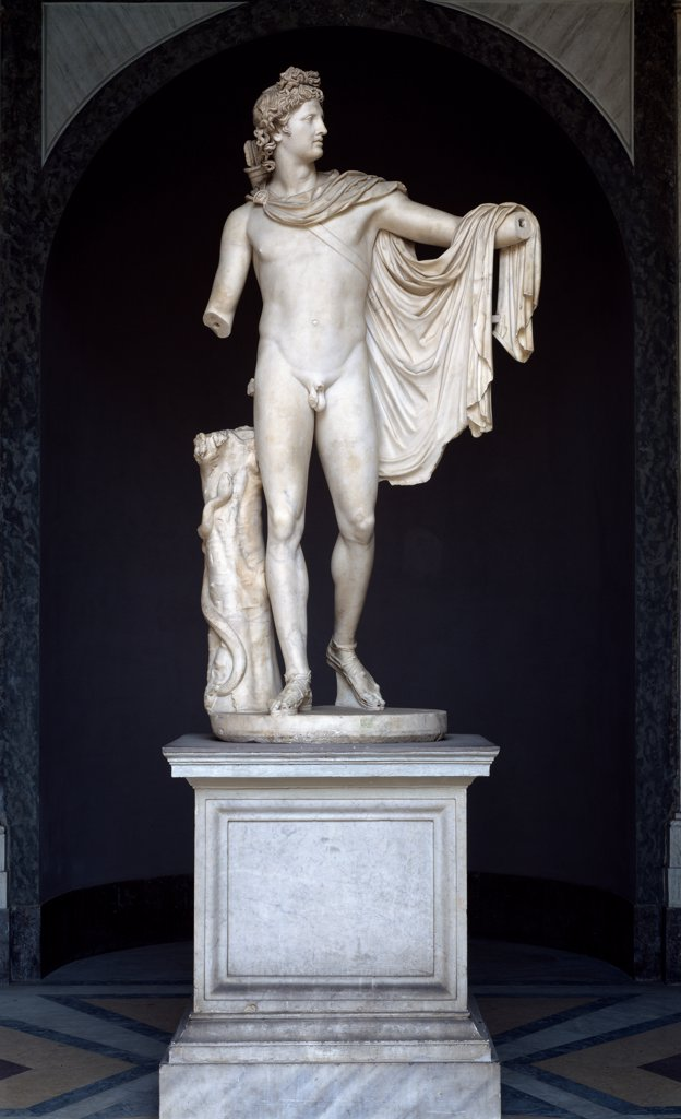 Stock Photo: 1899-42656 Belvedere Apollo. Roman copy after a Greek bronze original from the 4th century BC. Marble, H224 cm, 130_140 AD. Museo Pio Clementino, Musei Vaticani, Italy.