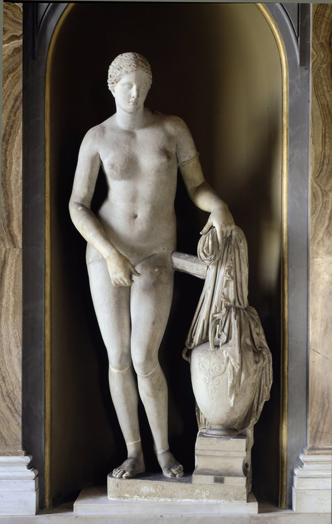 Stock Photo: 1899-42657 Cnidian Aphrodite. Roman copy after a bronze original from 350  BC by Praxitele. Marble, H204 cm. Museo Pio Clementino, Musei Vaticani, Italy.