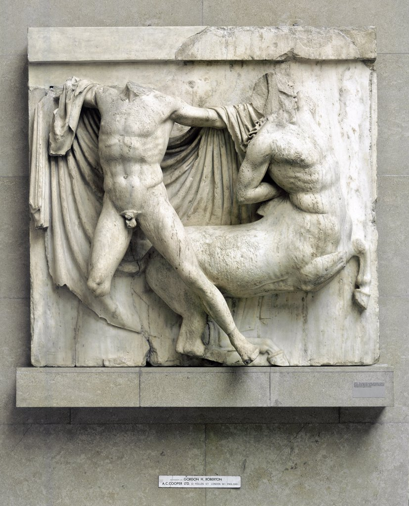 Greek Art: Fight between a Human Lapith and a Centaur. Metope from the Parthenon. The Acropolis, Athens, Greece. Marble, H172 cm,c. 440 BC. British Musem, London, UK.  : Stock Photo