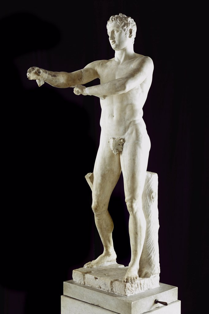 Greek Art: Apoxyomenos (The Scraper). Statue representing an athlete scraping sweat and dust from his body. Roman copy after an original by Lysippos. Marble, H205 cm. Museo Pio Clementino, Musei Vaticani, Italy.  : Stock Photo