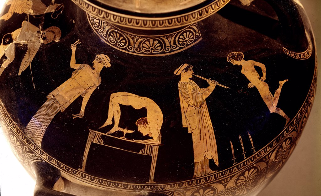 Greek Art: Girls Dancing and Tumbling. Detail of a red-figure hydria. 5th century BC. Museo Archeologico Nazionale, Naples, Italy.  : Stock Photo