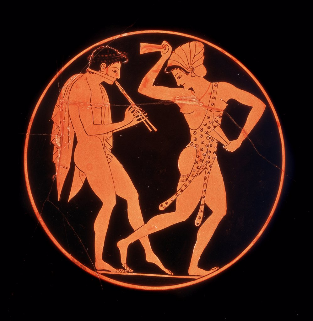 Greek Art: Diaulos Player and Dancing Woman. Red-Figure Vase, Detail. From Vulci, 520-510 BC. British Museum, London, UK.  : Stock Photo