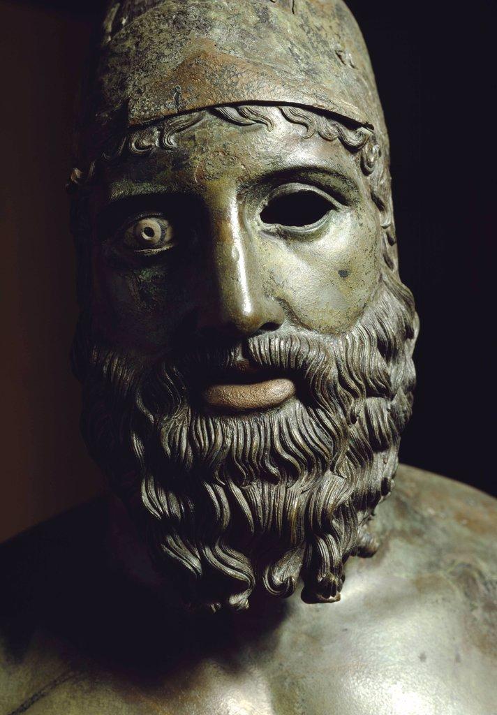 Greek Art: Riace Bronzes. Statue B, detail. Bronze, H197 cm, 460-430 BC. Museo Nazionale della Magna Grecia, Reggio Calabria, Italy .  : Stock Photo