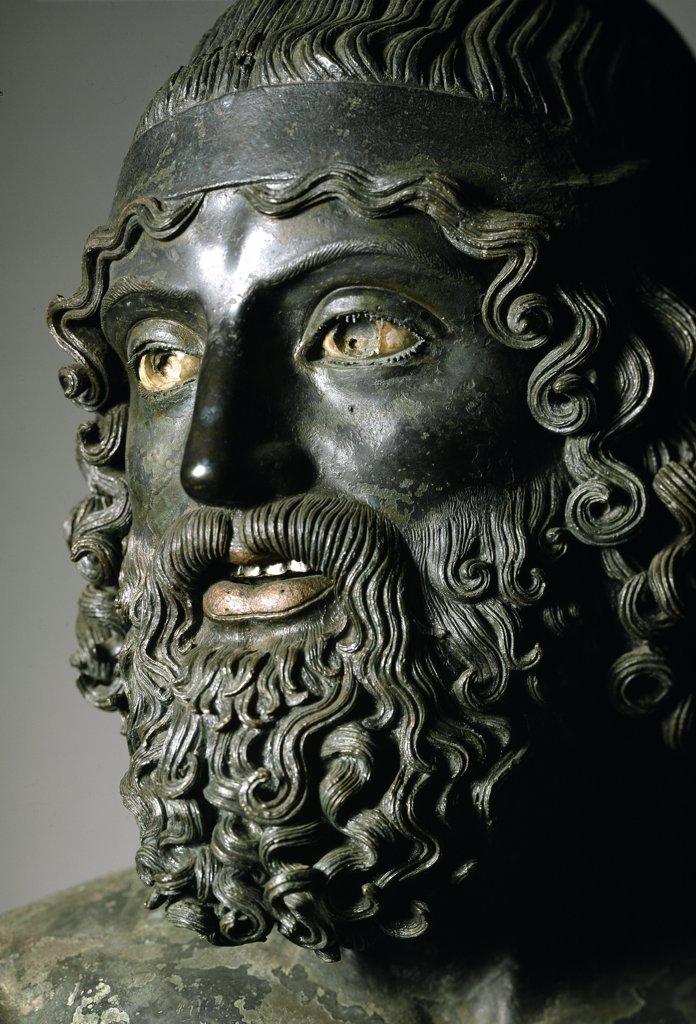 Stock Photo: 1899-42751 Greek Art: Riace Bronzes. Statue A, detail. Bronze, H205 cm, 460-430 BC. Museo Nazionale della Magna Grecia, Reggio Calabria, Italy .