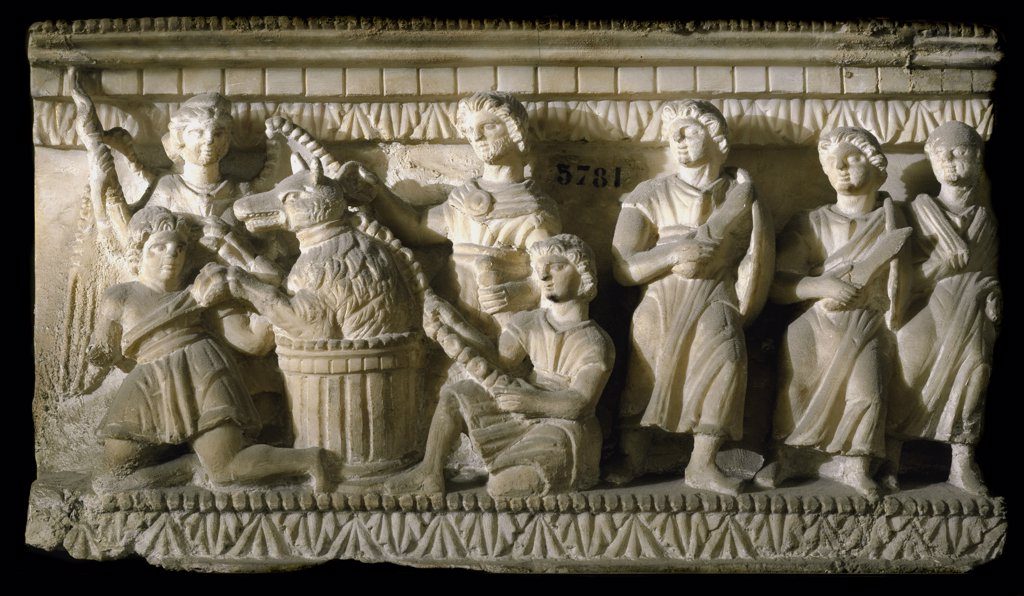 Etruscan Art: Odysseus Turns into Man after Breaking the Magic Spell of Circe. Bas-relief, 3rd century BC. Museo Archeologico, Florence, Italy.  : Stock Photo