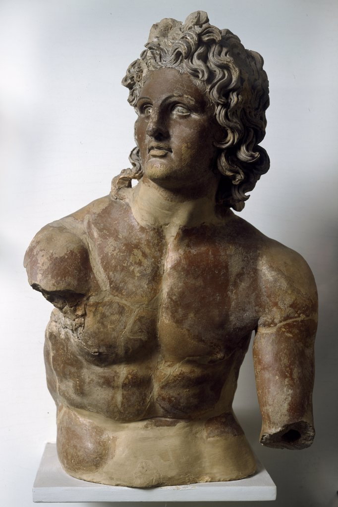 Stock Photo: 1899-42791 Etruscan Art: Apollo of Scasato, inspired by a statue of Alexander the Great, by Lysippos. From Civita Castellana (Falerii Veteres)End of 3th century AD. Museo Nazionale di Villa Giulia, Rome, Italy.