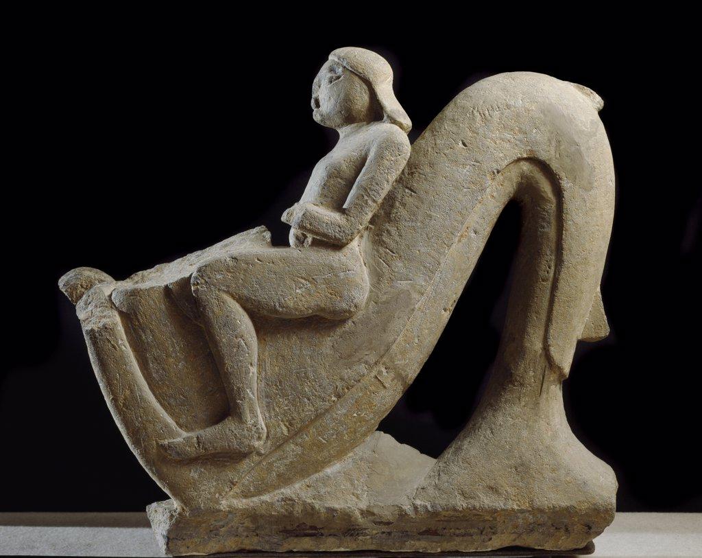 Etruscan Art: Young Man on a Dolphin. From Vulci. Stone, H 82 cm, 550 AD. Museo Nazionale di Villa Giulia, Rome, Italy.  : Stock Photo