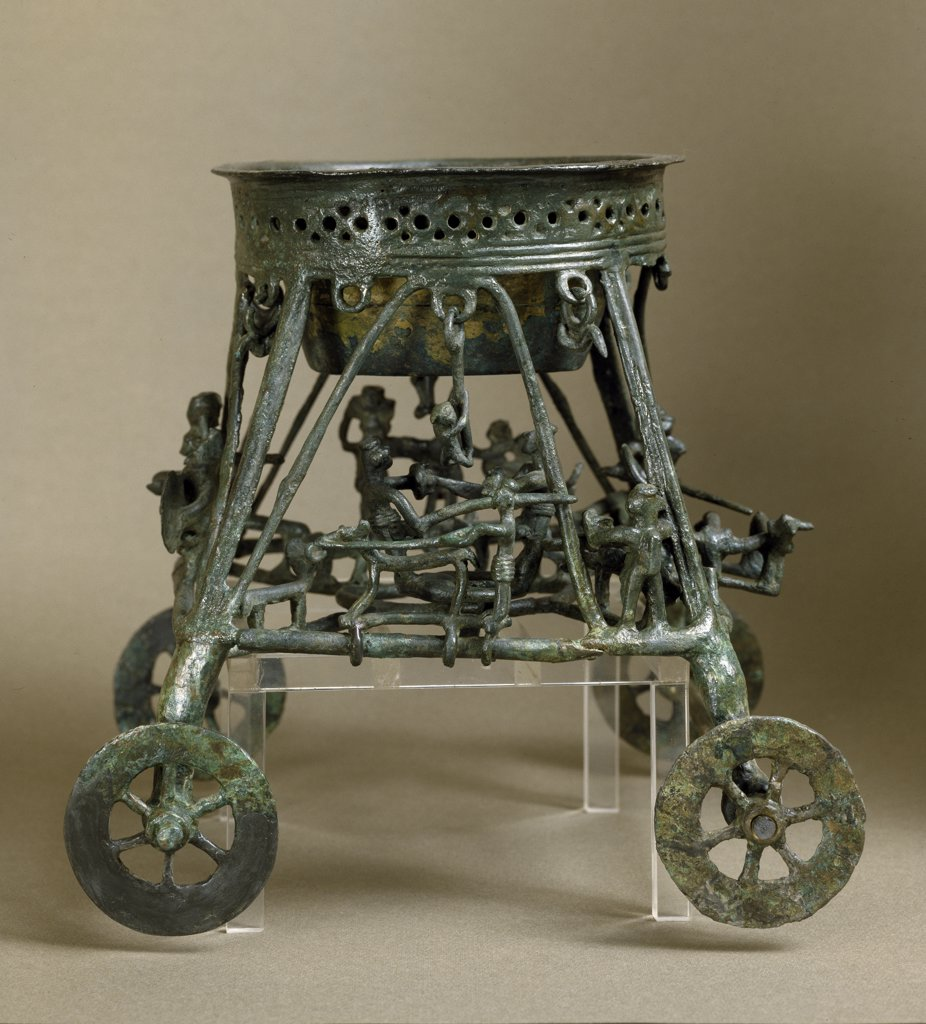 Etruscan Art: Ritual Wheeled Cart. From the Olmo Bello Necropolis, Tomb no2, Binsenzo. Bronze, H30 cm, 7th century BC. Museo Nazionale di Villa Giulia, Rome, Italy.  : Stock Photo