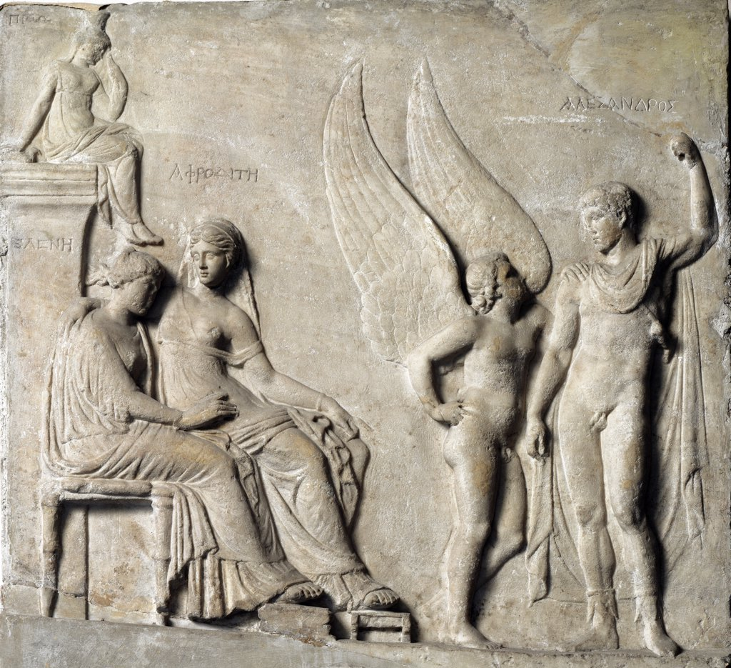 Greek Art: The Seduction of Helen. Relief after a Greek original. Marble, 1st century BC. Museo Archeologico Nazionale, Naples, Italy.  : Stock Photo