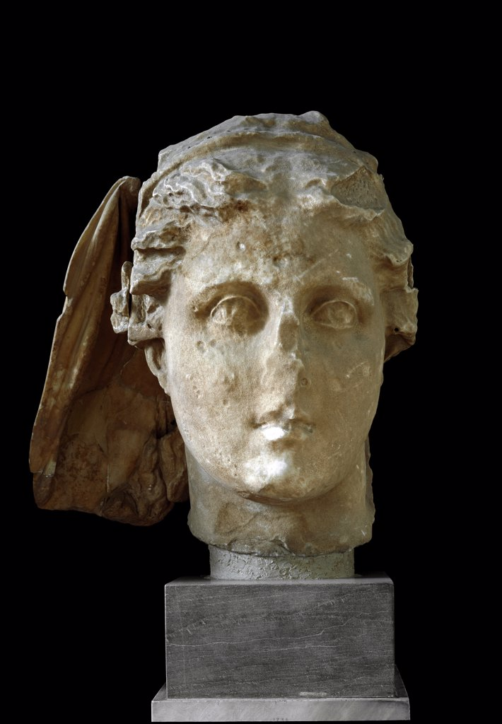 Greek Art: Head of Demeter, from Lycosura. Marble, 4th century BC. National Archaeological Museum, Athens, Greece.  : Stock Photo