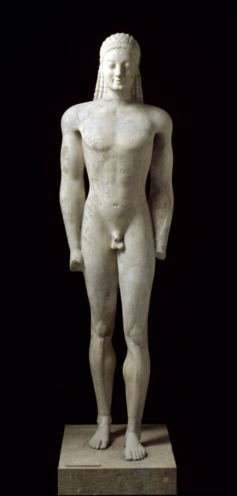 Greek Art: Kouros from Volomandra. H179 cm,  c.560 BC. National Archaeological Museum, Athens, Greece.  : Stock Photo