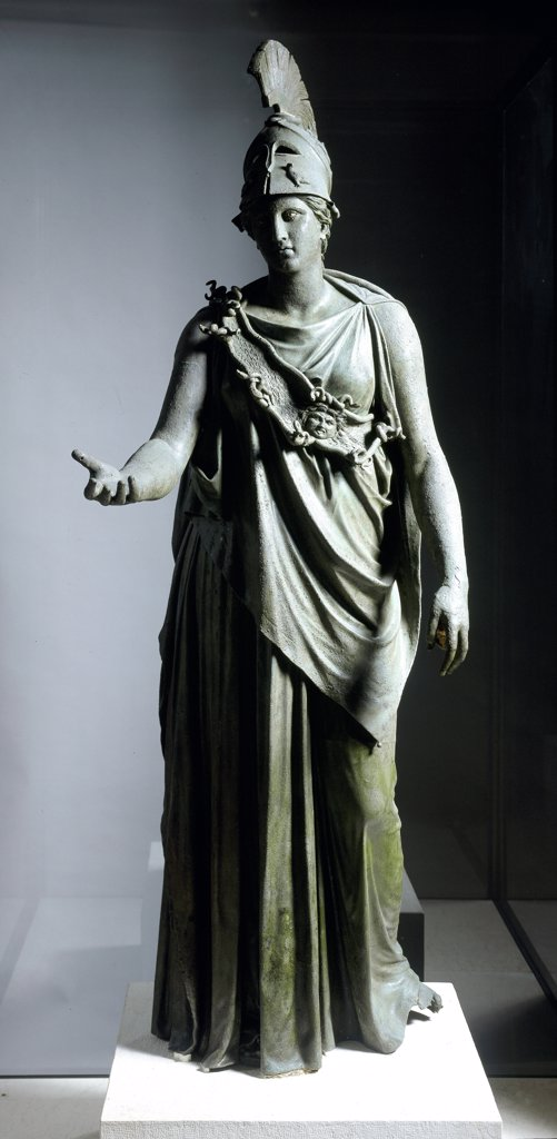 Greek Art: Statue of Athena. Bronze from Piraeus, c.350 BC. National Archaeological Museum, Athens, Greece.  : Stock Photo