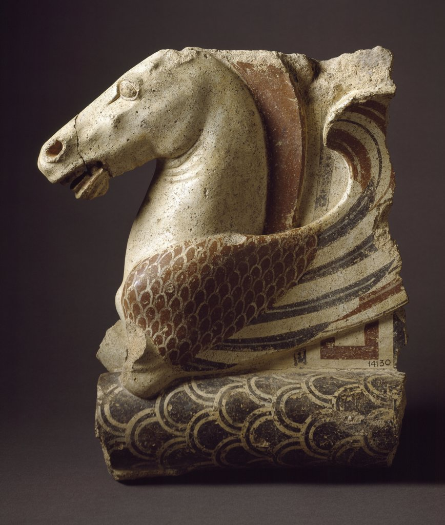 Stock Photo: 1899-42954 Etruscan Art: Acroterion in the shape of Pegasus. Clay, 46x41 cm, 450-430 BC. Museo Gregoriano Etrusco, Musei Vaticani, Italy.